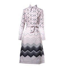 Lanvin Vintage 1970's Mod Geometric Op Art Print Shirt Dress