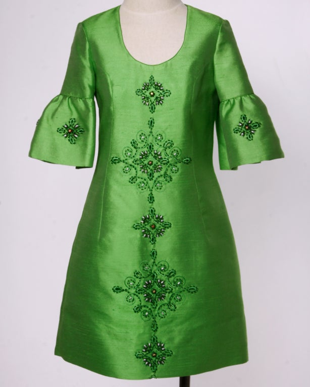Vintage 1960's Green Silk/ Worsted Wool Beaded Shift Dress 2