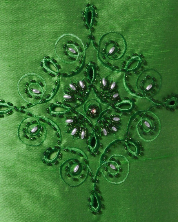 Vintage 1960's Green Silk/ Worsted Wool Beaded Shift Dress 3