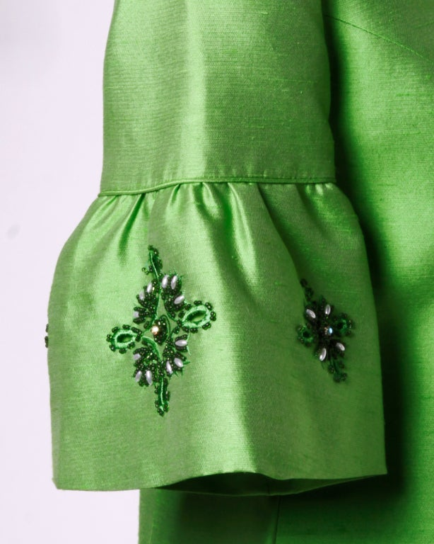 Vintage 1960's Green Silk/ Worsted Wool Beaded Shift Dress 4