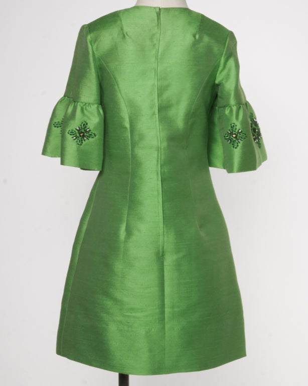Vintage 1960's Green Silk/ Worsted Wool Beaded Shift Dress 5