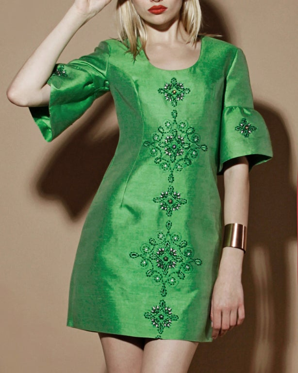 Vintage 1960's Green Silk/ Worsted Wool Beaded Shift Dress 6