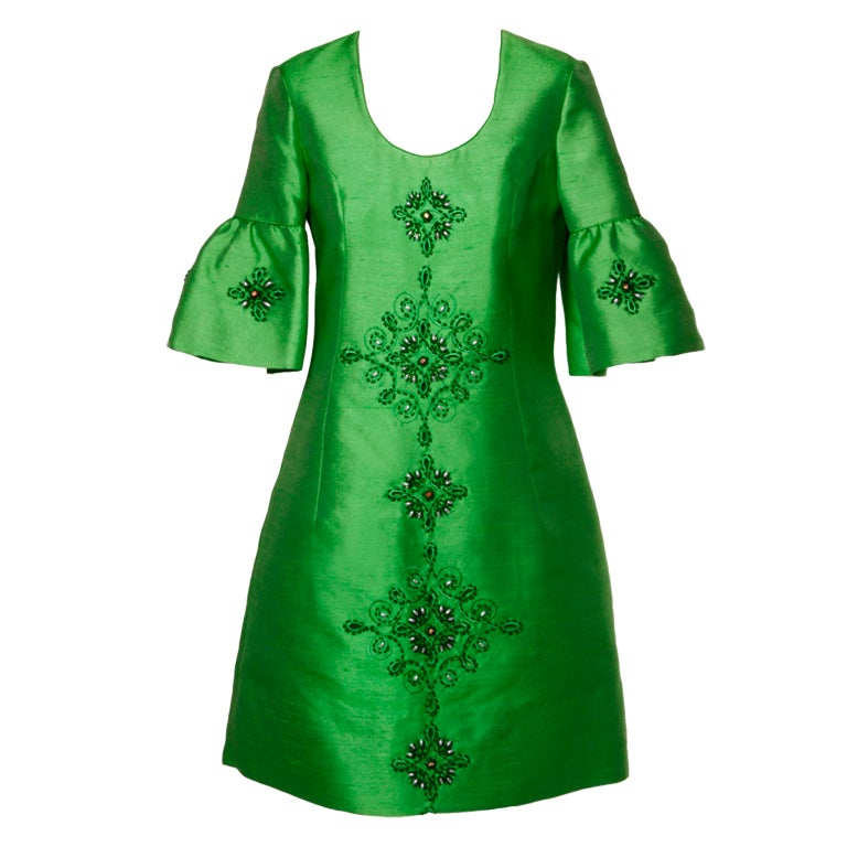 Vintage 1960's Green Silk/ Worsted Wool Beaded Shift Dress 1