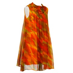 Vintage 1960's Mod Sheer Silk Chiffon Printed Trapeze Dress
