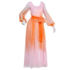 Vintage 1970's Sheer Pink + Orange Ombré Chiffon Maxi Dress