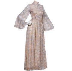 Robert David Morton Vintage 70s Sheer Seashell Print Maxi Dress