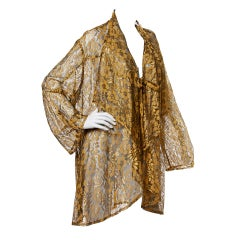 Mary McFadden Vintage 1980s Sheer Metallic Lace Duster Jacket