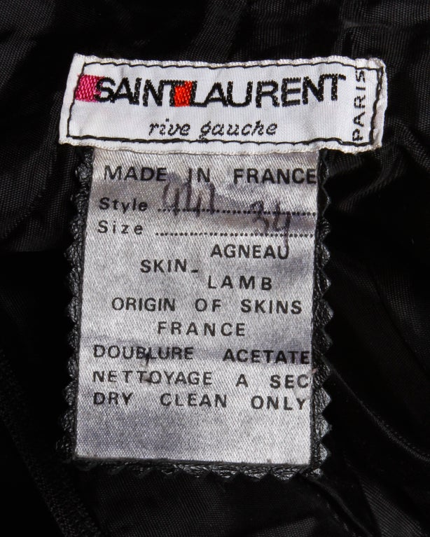 """Vintage Yves Saint Laurent Rive Gauche black leather lambskin pants. High waist with front pleats, side pockets, and belt loops. Front zip and button closure.  These pants are a marked size 34, but fit like an extra small.  Waist: 24"""" Front"""