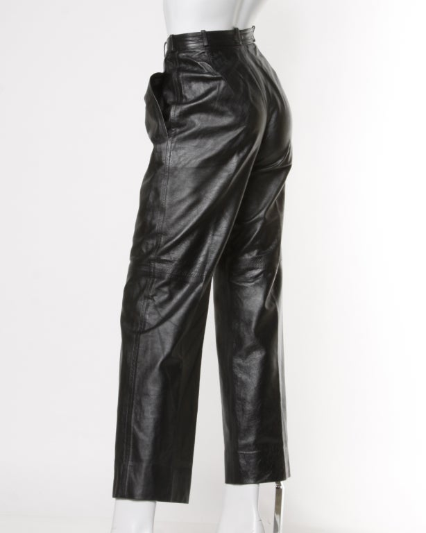 Yves Saint Laurent Vintage 1980's Black Leather Lambskin Pants In Excellent Condition For Sale In Sparks, NV