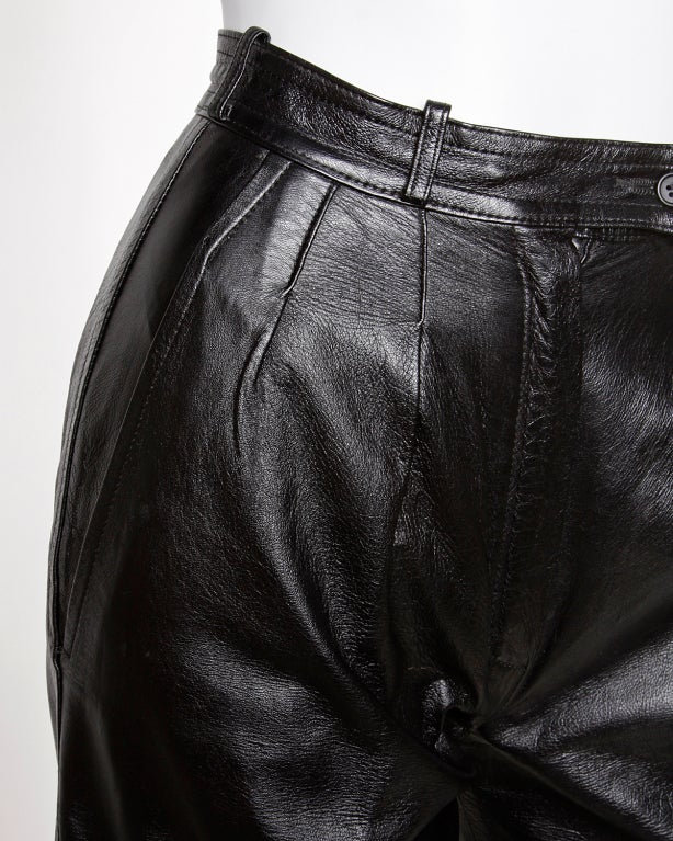 Women's Yves Saint Laurent Vintage 1980's Black Leather Lambskin Pants For Sale