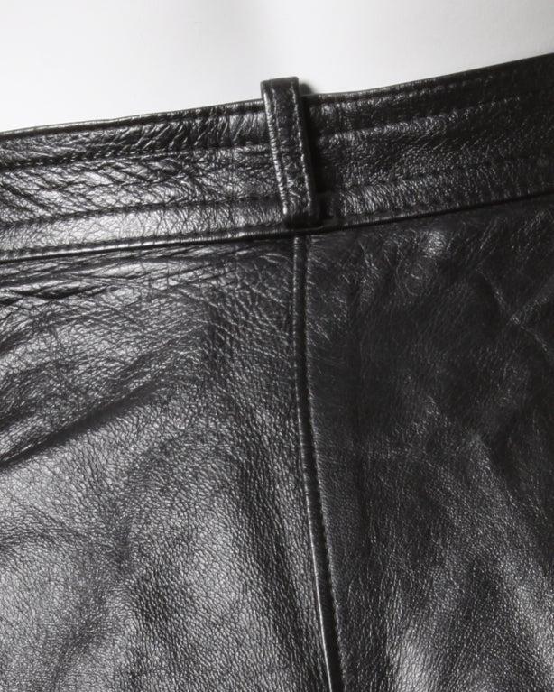 Yves Saint Laurent Vintage 1980's Black Leather Lambskin Pants For Sale 1