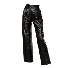 Yves Saint Laurent Vintage 1980's Black Leather Lambskin Pants