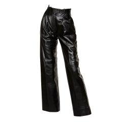 Yves Saint Laurent Vintage 1980's Black Leather Lambskin Pants