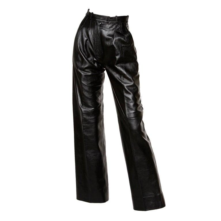 Yves Saint Laurent Vintage 1980's Black Leather Lambskin Pants For Sale