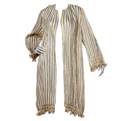 Mary McFadden Vintage Metallic Origami Striped Duster Jacket