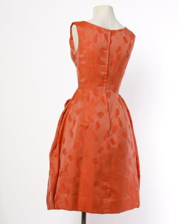 Vintage 1950's Suzy Perette Floral Tulip Print Red-Orange Dress 4