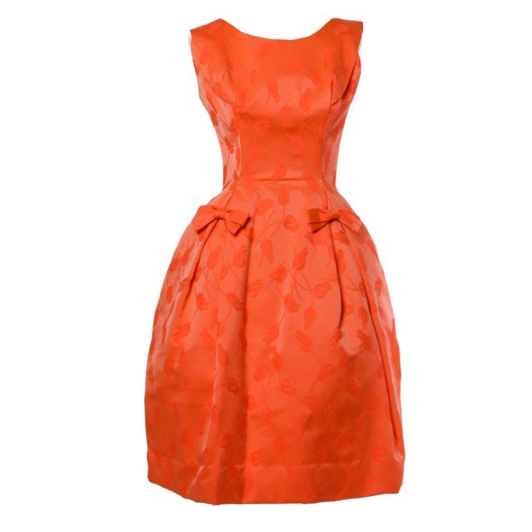 Vintage 1950's Suzy Perette Floral Tulip Print Red-Orange Dress 1