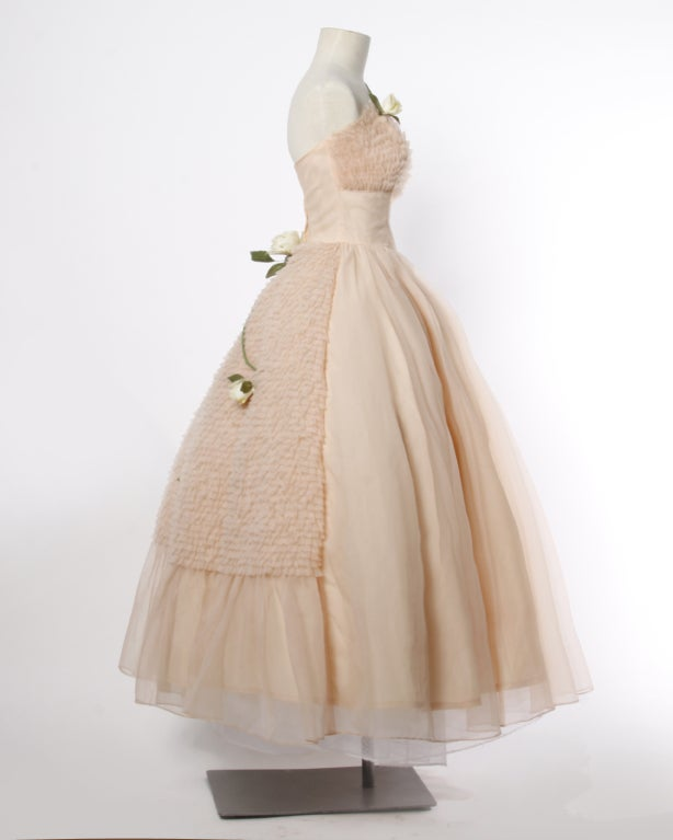 Vintage 1950's Pink Tiered Tulle Formal Dress with Flowers 2