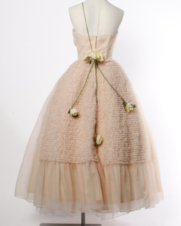 Vintage 1950's Pink Tiered Tulle Formal Dress with Flowers 3