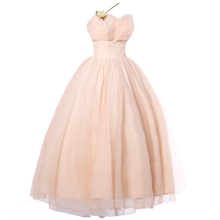 Vintage 1950's Pink Tiered Tulle Formal Dress with Flowers 1