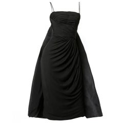 Vintage 1960's Edward Abbott Black Silk Cape Train Draped Dress