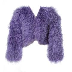 Valentino Vintage Purple Dyed Tibetan/ Mongolian Lamb Fur Jacket