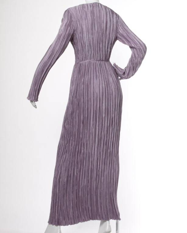 Gray Mary McFadden Vintage Purple Pleated Plunging Neck Maxi Dress For Sale