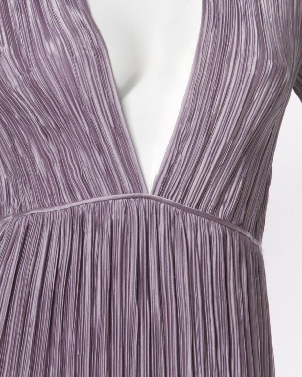 Mary McFadden Vintage Purple Pleated Plunging Neck Maxi Dress In Excellent Condition For Sale In Sparks, NV