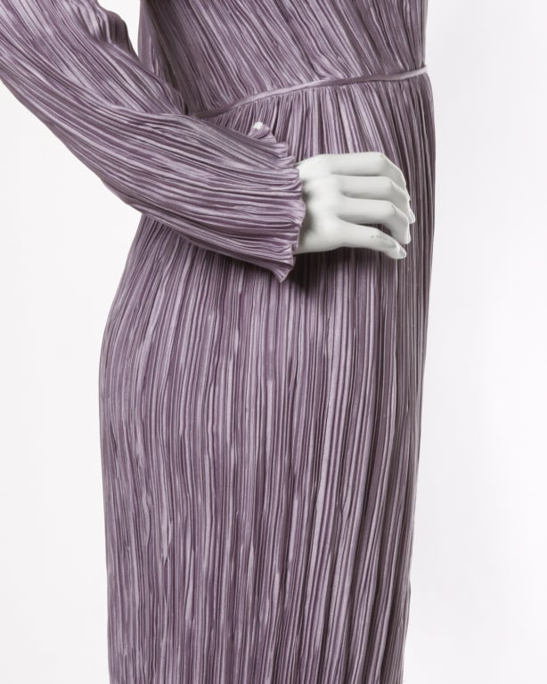 Women's Mary McFadden Vintage Purple Pleated Plunging Neck Maxi Dress For Sale