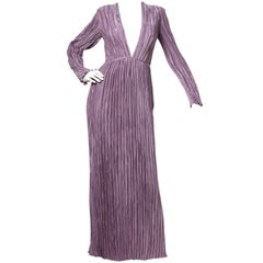 Mary McFadden Vintage Purple Pleated Plunging Neck Maxi Dress