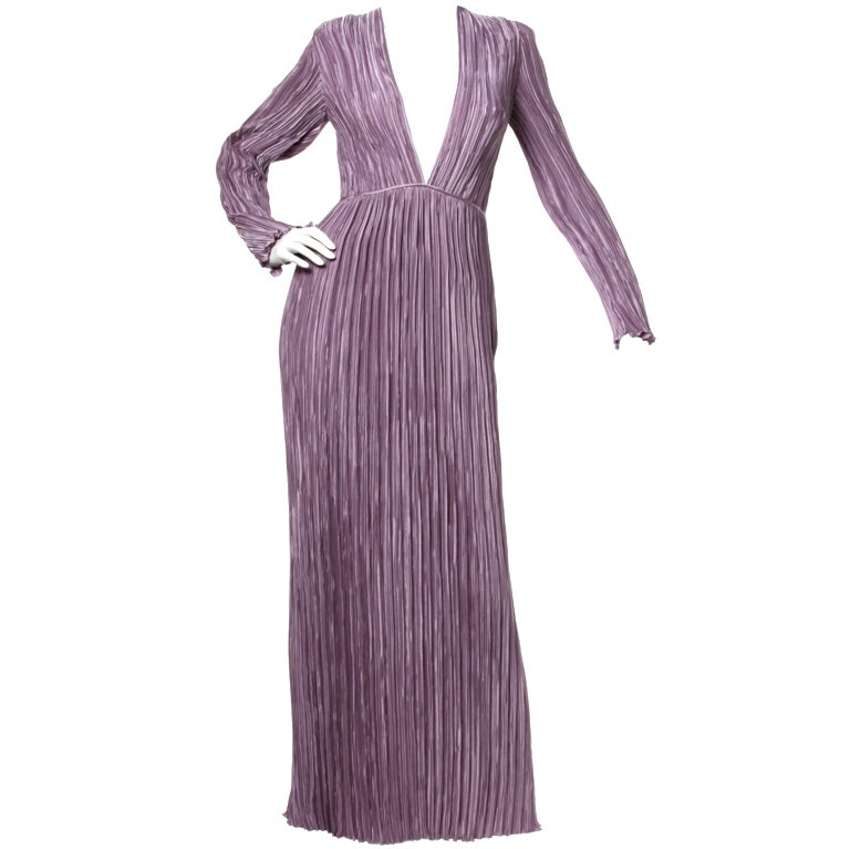Mary McFadden Vintage Purple Pleated Plunging Neck Maxi Dress For Sale