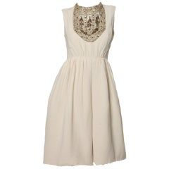 Morton Myles Vintage 1960's Silk Metallic Rhinestone Bib Dress