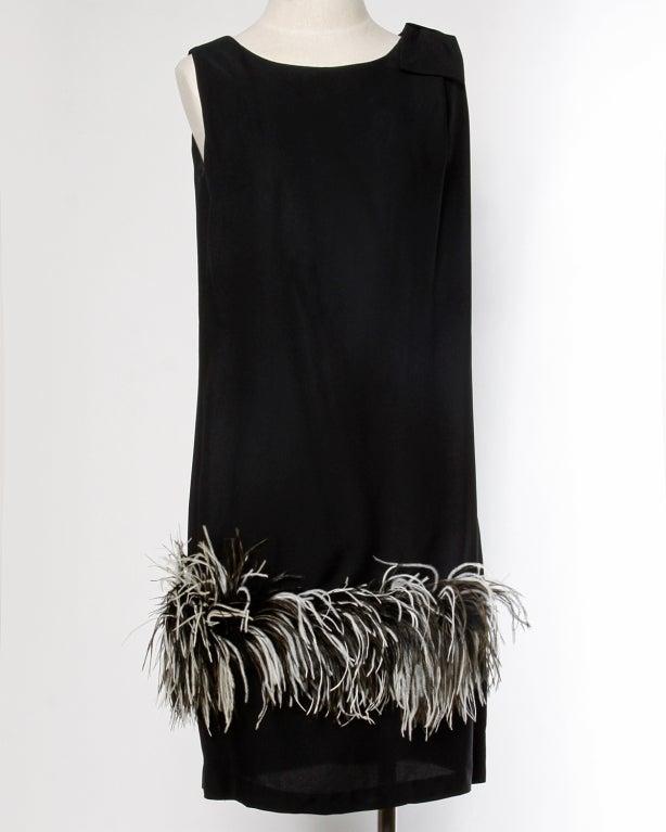 Vintage Black + White Maribou Feather 1960's Cocktail Dress 2