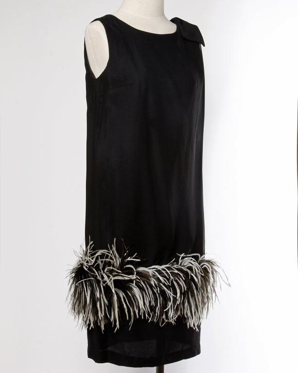 Vintage Black + White Maribou Feather 1960's Cocktail Dress 3