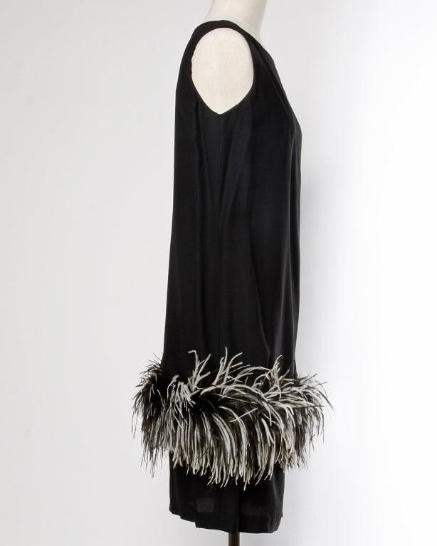 Vintage Black + White Maribou Feather 1960's Cocktail Dress 4
