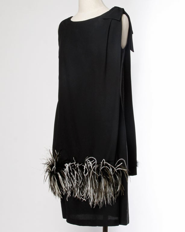 Vintage Black + White Maribou Feather 1960's Cocktail Dress 5