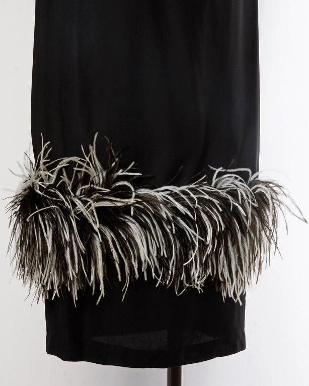 Vintage Black + White Maribou Feather 1960's Cocktail Dress 6