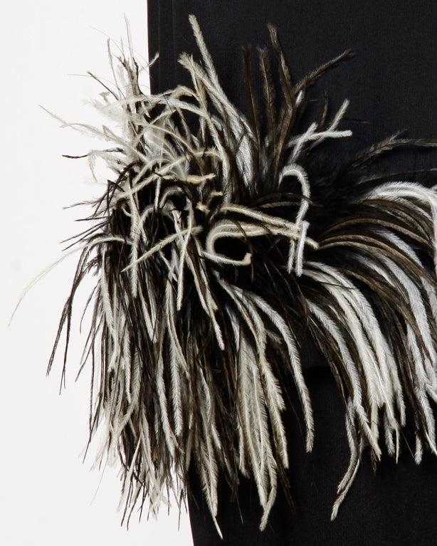 Vintage Black + White Maribou Feather 1960's Cocktail Dress 8
