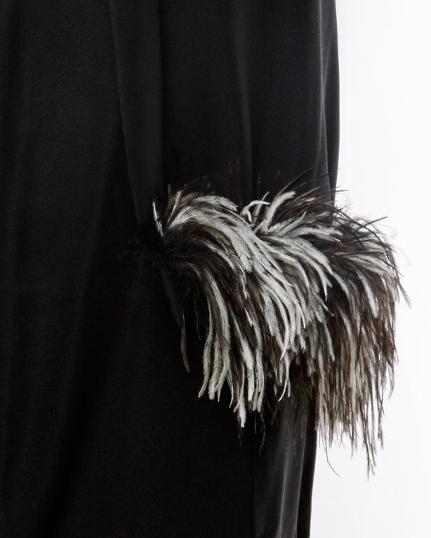 Vintage Black + White Maribou Feather 1960's Cocktail Dress 9