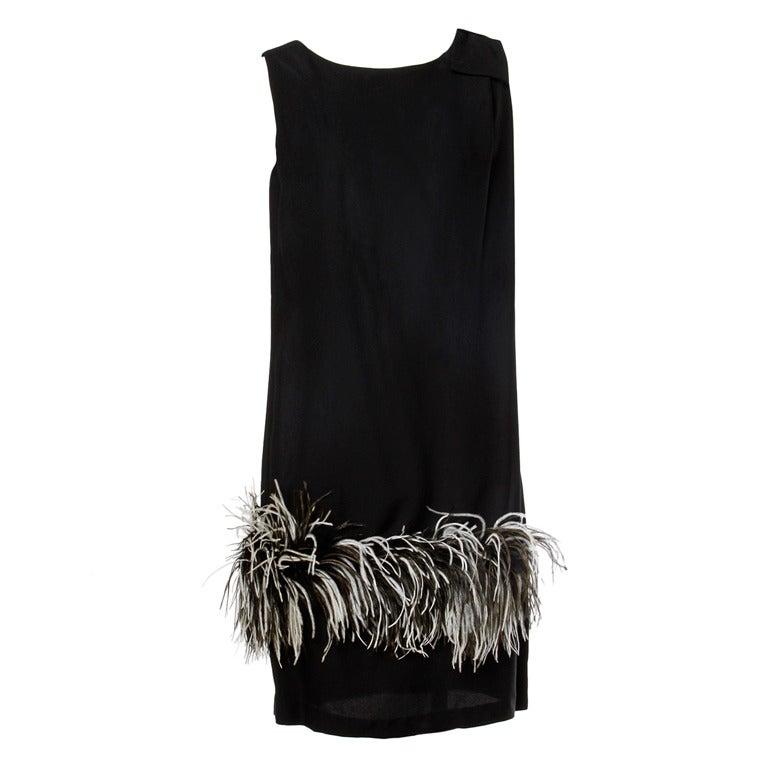 Vintage Black + White Maribou Feather 1960's Cocktail Dress 1