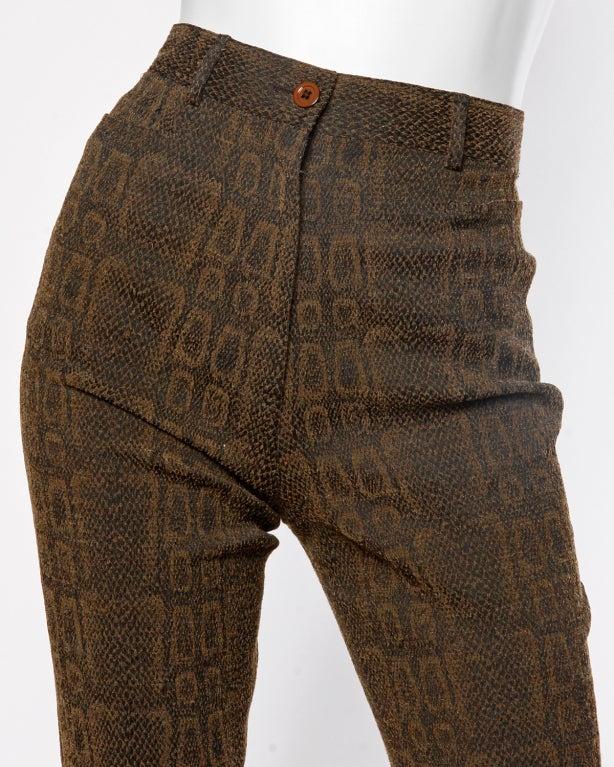 Emanuel Ungaro High Waisted 1990s Vintage Snakeskin Print Pants 4