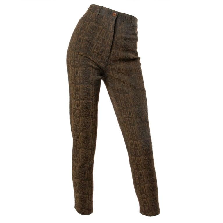 Emanuel Ungaro High Waisted 1990s Vintage Snakeskin Print Pants 1