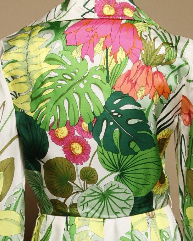 Vintage 1960's Kiki Hart Silk Tropical Botanical Print Dress 3