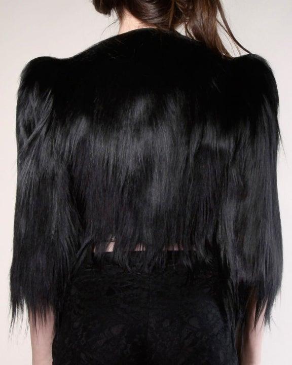 Vintage 1940's Glossy Black Colobus Monkey Fur Jacket 3