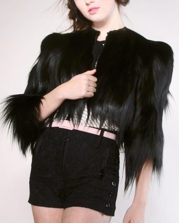 Vintage 1940's Glossy Black Colobus Monkey Fur Jacket 4