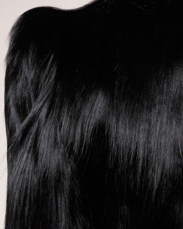 Vintage 1940's Glossy Black Colobus Monkey Fur Jacket 6
