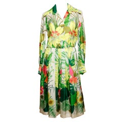Vintage 1960's Kiki Hart Silk Tropical Botanical Print Dress