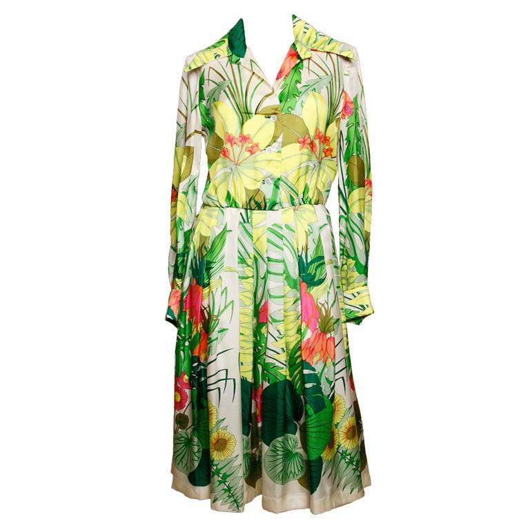 Vintage 1960's Kiki Hart Silk Tropical Botanical Print Dress 1