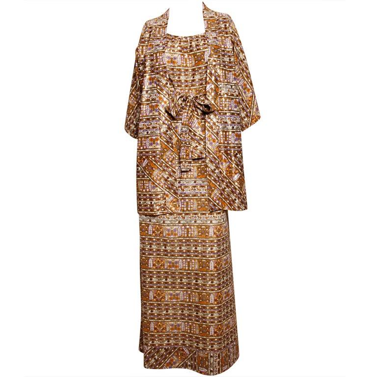 Mr Blackwell 3 Piece Set Maxi Dress Kimono Jacket