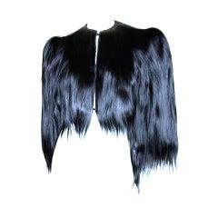 Vintage 1940's Glossy Black Colobus Monkey Fur Jacket